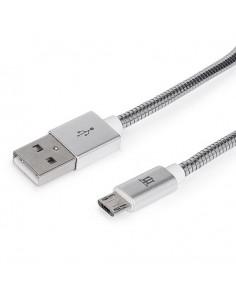 CABLE MAILLON PREMIUM MICRO USB 24 METAL PLATEADO 1M