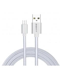 CABLE EIGHTT USB A MICROUSB 1MTS TRENZADO DE NYLON PLATA CARCASA DE ALUMINIO