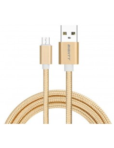 CABLE EIGHTT USB A MICROUSB 1MTS TRENZADO DE NYLON ORO CARCASA DE ALUMINIO