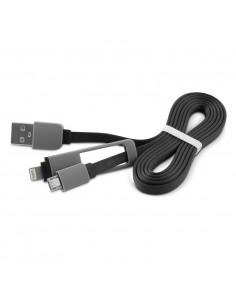 CABLE ADAPTADOR 1LIFE USB 2 EN 1 FLAT NEGRO