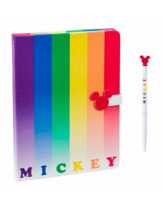 Set cuaderno y boligrafo Mickey Rainbow Disney