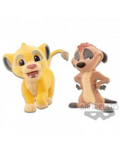 Set figuras Simba Timon El Rey Leon Disney Fluffy Q Posket