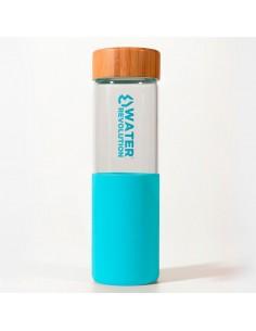 Botella Turquesa Vidrio Silicona Water Revolution 660ml