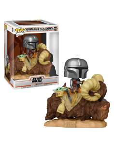Figura POP Star Wars The Mandalorian Mando on Bantha with Child in Bag