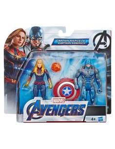 Set figuras Capitana Marvel y Capitan America Vengadores Avengers Marvel