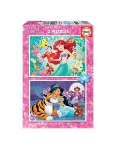 Puzzle Ariel Jasmine Princesas Disney 2x48pzs