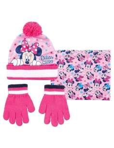 Conjunto gorro guantes braga cuello Minnie Disney