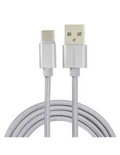 CABLE EIGHTT USB 20 A TYPE C 1M TRENZADO DE NYLON PLATA