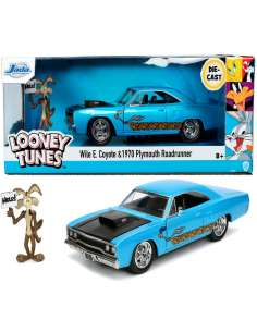 Set figura Coyote coche Correcaminos Plymouth 1970 Looney Tunes